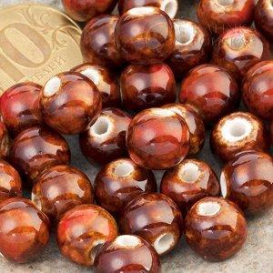 Бусины керамические круглые коричневые, р-р. 11мм. отв. 2мм.
