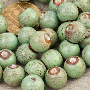 Бусины керамические круглые зеленые, р-р. 11мм. отв. 2мм.