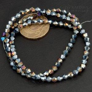 Нитка из 105 хрустальных бусин-биконусов, имитация Сваровски, гранение, цвет чёрный с радужным покрытием, диам. 4мм.