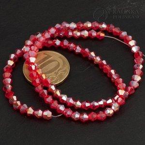 Хрустальные биконусы на нитке, имитация Сваровски, красные с АВ-эффектом, р-р 4мм. В нитке 105 бусин.
