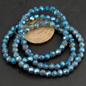 Бусины хрустальные круглые имитация Сваровски серые с синим напылением, р-р 4мм, отв. 0.8мм, в нитке 95 бусин