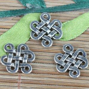 Коннектор китайский узел счастья, р-р 17х15х1,5мм, отв 1,5 мм, ювелирный сплав, цвет винтажное серебро.