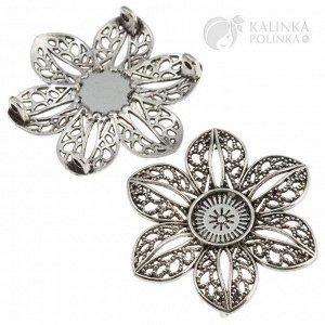 Цветок-разделитель двухрядный, крупный, р-р. 38х33х6мм, отв. 2мм, ювелирный сплав, цвет античное серебро.