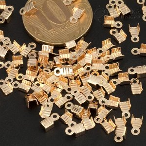Концевики для тонких шнуров, железо, цвет русское золото, ширина 3мм, отверстие 1.5мм