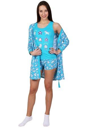 Комплект с халатом Единорожка Цвет: Бирюзовый. Производитель: Оптима Трикотаж
