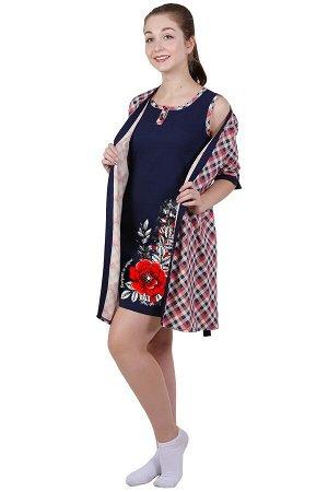 Комплект с халатом Paulina Цвет: Темно-Синий, Красный, Молочный. Производитель: Оптима Трикотаж