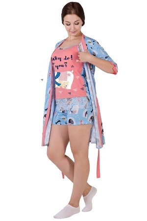Комплект с халатом Медведи Цвет: Коралловый. Производитель: Оптима Трикотаж