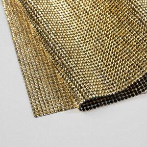 Стразы термоклеевые на листе, 40 ? 24 см, цвет золотой