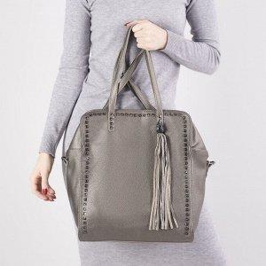 Сумка женская, отдел на молнии, наружный карман, длинный ремень, цвет бронза