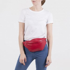 Сумка поясная, отдел на молнии, наружный карман, цвет красный
