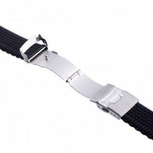"""Ремешок для часов """"Bugert"""" 24 мм, силикон, l=20 см, черный"""