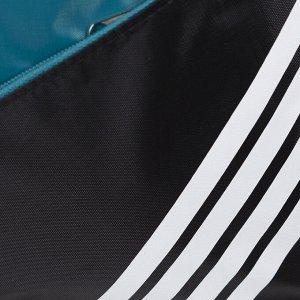 Сумка спортивная, отдел на молнии, наружный карман, длинный ремень, цвет чёрный/бирюзовый