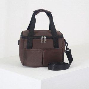 Сумка-термо, отдел на молнии, 2 наружных кармана, длинный ремень, цвет коричневый