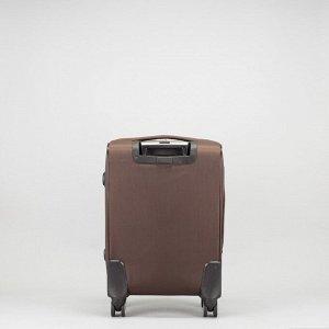 """Чемодан малый 19"""", отдел на молнии, 2 наружных кармана, с расширением, кодовый замок, 4 колеса, цвет коричневый"""