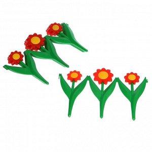 Декоративное ограждение для сада и огорода, 32,5 ? 225 см, 5 секций, пластик, красный цветок, «Ромашка»