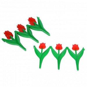 Ограждение декоративное, 30 ? 225 см, 5 секций, пластик, красный цветок, «Тюльпан»