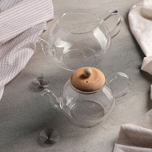 Набор чайников «Валенсия», 2 шт: 480 мл и 1200 мл, с металлическим ситом