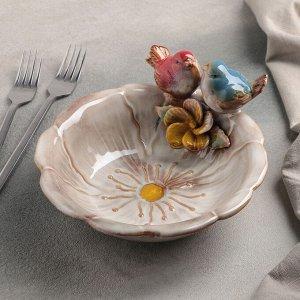 Блюдо сервировочное «Соловушки», 18?8 см, цвет бежевый