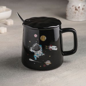 Кружка «Космос», 400 мл, 2,5?9,5?9,5 см, с керамической крышкой и ложкой, рисунок МИКС