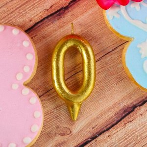"""Свеча в торт цифра """"0"""" золото"""