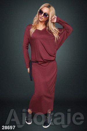 Платье макси бордового цвета с заниженной талией