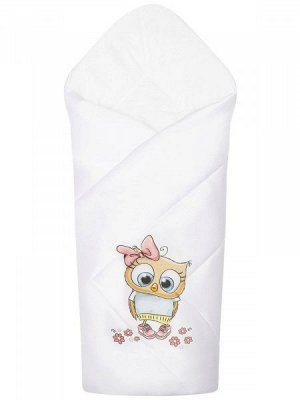 """Конверт-одеяло на выписку """"Совушка"""" (белое, принт без кружева)"""