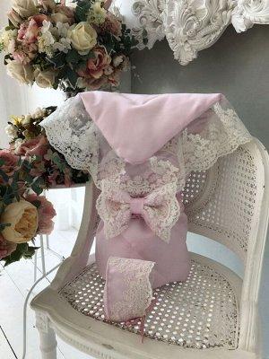 """Конверт-одеяло на выписку """"Венеция"""" (розовый с молочным кружевом)"""