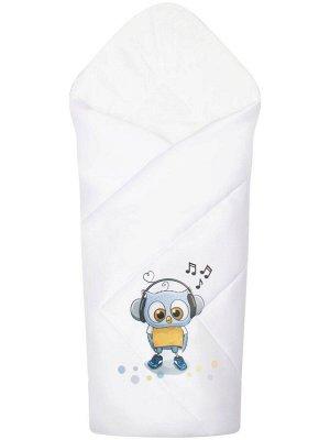 """Конверт-одеяло на выписку """"Совенок"""" (белое, принт без кружева)"""
