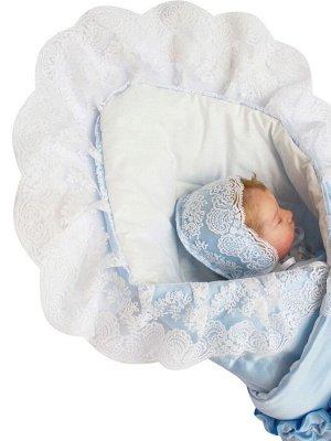 """Зимний Конверт-одеяло на выписку """"Неаполь"""" (голубой с молочным кружевом)"""
