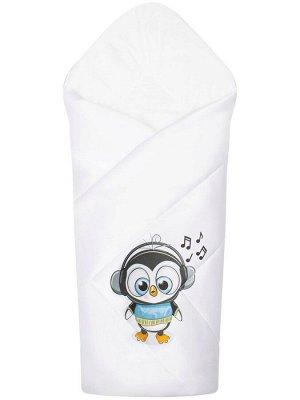 """Конверт-одеяло на выписку """"Пингвинёнок"""" (белое, принт без кружева)"""
