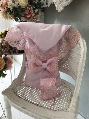 """Конверт-одеяло на выписку """"Венеция"""" (розовый с розовым кружевом)"""