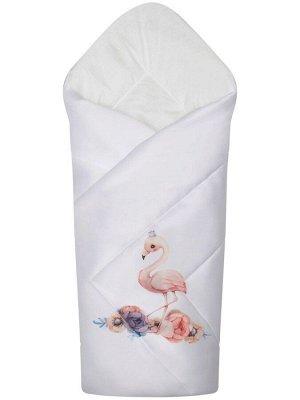 """Конверт-одеяло на выписку """"Принцесса фламинго"""" (белое, принт без кружева)"""