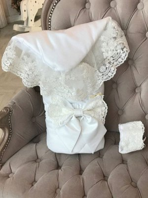 """Конверт-одеяло на выписку """"Венеция"""" (молочный с молочным кружевом)"""