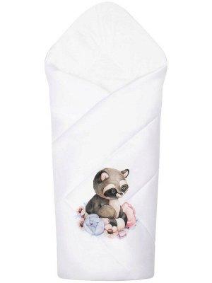 """Конверт-одеяло на выписку """"Енотик"""" (белое, принт без кружева)"""
