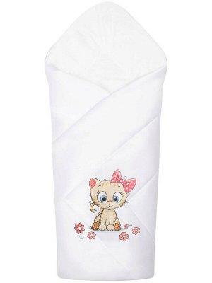 """Конверт-одеяло на выписку """"Киска"""" (белое, принт без кружева)"""