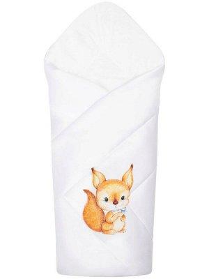 """Конверт-одеяло на выписку """"Бельчонок"""" (белое, принт без кружева)"""