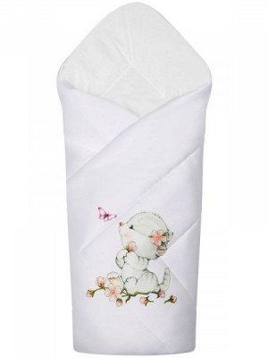 """Конверт-одеяло на выписку """"Киска с бабочкой"""" (белое, принт без кружева)"""