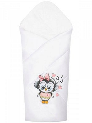 """Конверт-одеяло на выписку """"Пингвиночка"""" (белое, принт без кружева)"""