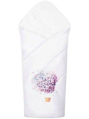 """Конверт-одеяло на выписку """"Цветочный полет"""" (белое, принт без кружева)"""