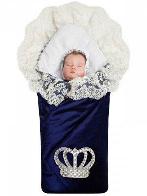 """Зимний Конверт-одеяло на выписку """"Императорский"""" (темно-синий с молочным кружевом и большой короной на липучке)"""