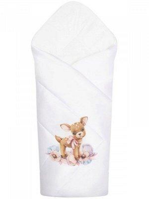 """Конверт-одеяло на выписку """"Оленёнок"""" (белое, принт без кружева)"""