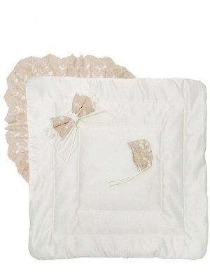 """Зимний Конверт-одеяло на выписку """"Неаполь"""" (молочный с золотым кружевом)"""