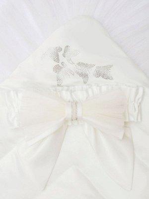 """Конверт-одеяло на выписку """"Бабочка"""" белый с фатином"""