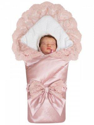 """Конверт-одеяло на выписку """"Неаполитания"""" утренняя роза с розовым кружевом и бантом"""