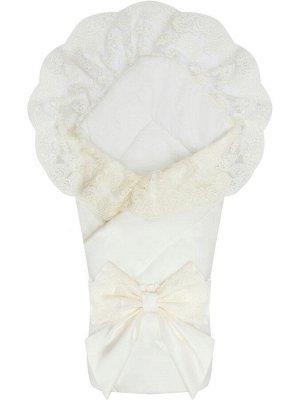"""Зимний Конверт-одеяло на выписку """"Неаполь"""" (молочный с молочным кружевом)"""