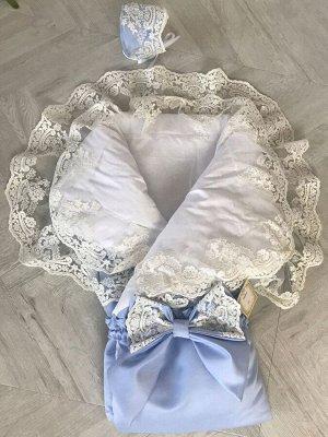 """Зимний конверт-одеяло на выписку """"Королевский"""" (голубой с молочным кружевом)"""