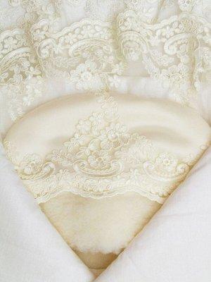 """Зимний конверт-одеяло на выписку """"Королевский"""" (молочный с молочным кружевом)"""