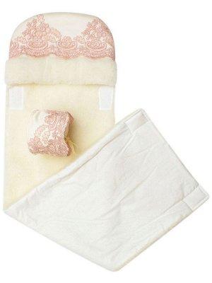 """Зимний конверт-одеяло на выписку """"Королевский"""" (молочный с розовым кружевом)"""