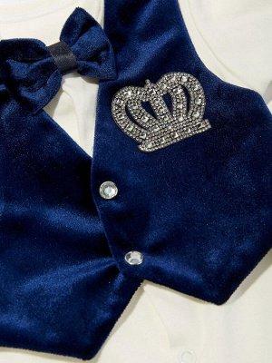 """Комплект на выписку """"Принц"""" комбинезон с синей жилеткой (велюр), бабочкой и стразами"""
