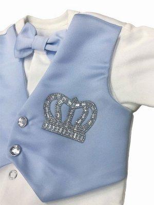 """Комплект на выписку """"Принц"""" комбинезон с голубой жилеткой, бабочкой и стразами"""